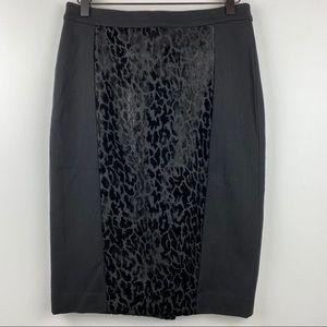 ANN TAYLOR Black Pencil Skirt with Velvet Leopard